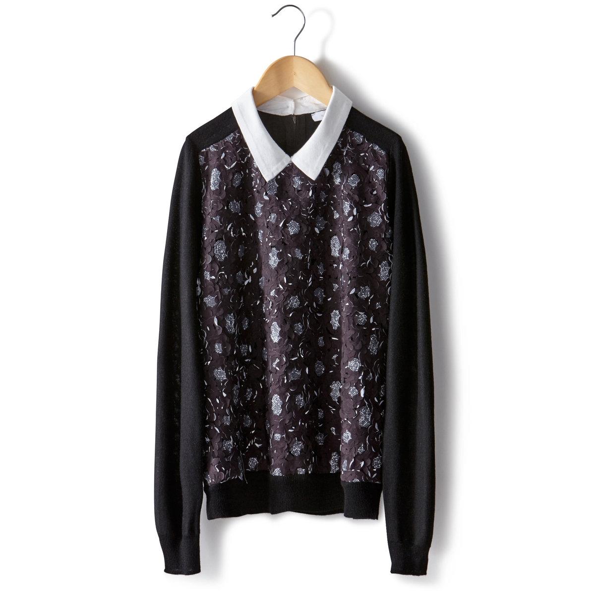 ПуловерПуловер MADEMOISELLE R. Пуловер с рубашечным воротником из хлопкового поплина. Длинные рукава.Рельефная блестящая ткань с цветочным эффектом. Низ и манжеты связаны в рубчик. Длина 59 см.Пуловер, 40% полиэстера, 20% полиамида, 20% акрила, 20% шерсти.<br><br>Цвет: черный<br>Размер: 30/32 (FR) - 36/38 (RUS)