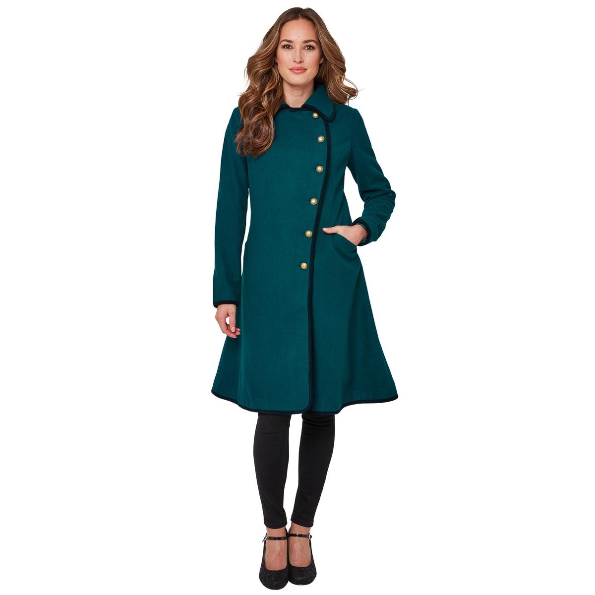 все цены на Пальто La Redoute Средней длины расклешенное к низу с застежкой на пуговицы 36 (FR) - 42 (RUS) синий онлайн