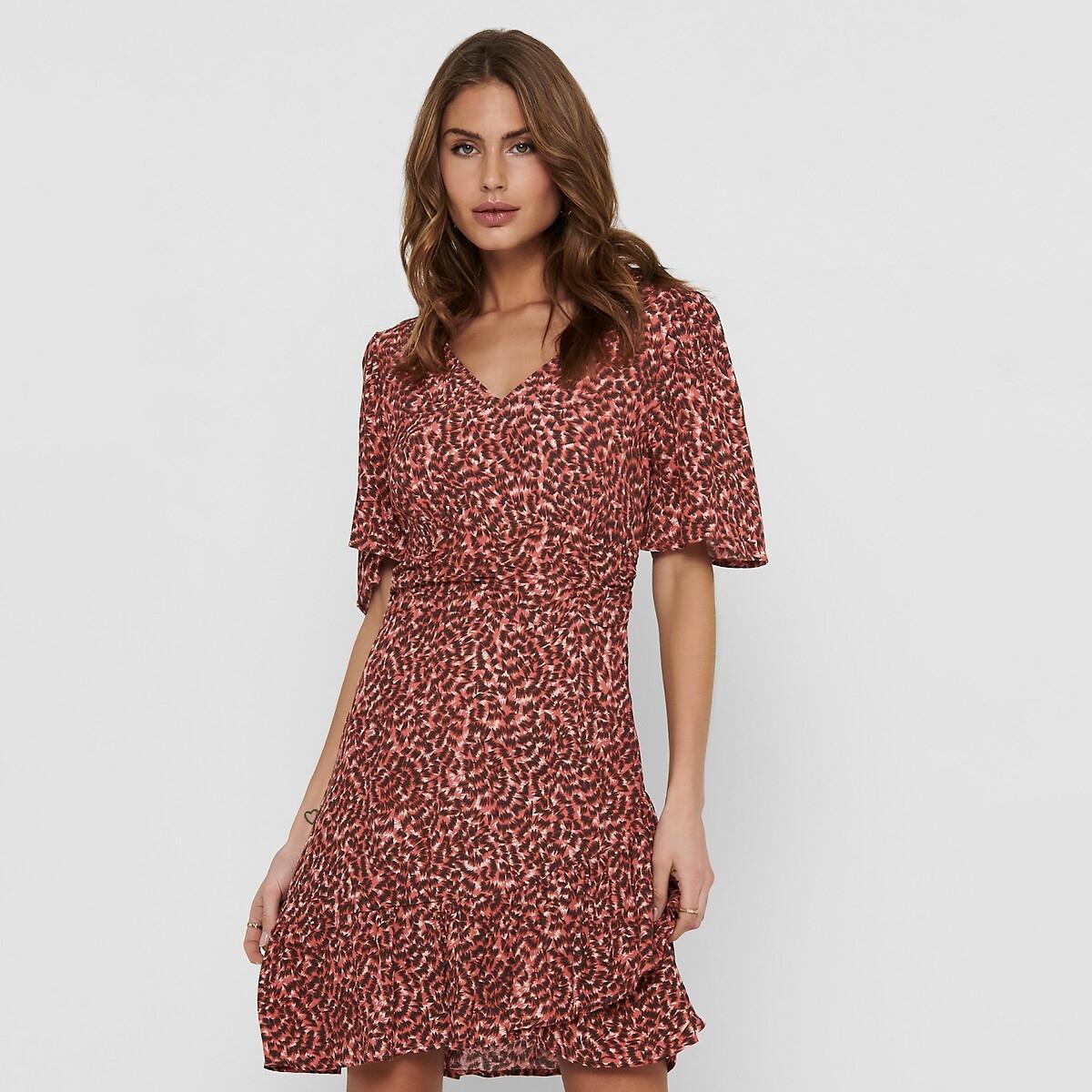 ONLY jurk ONLANNEMONE met dierenprint en volant rood online kopen