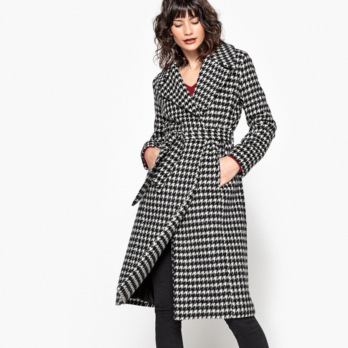 Пальто длинное в клетку пальто