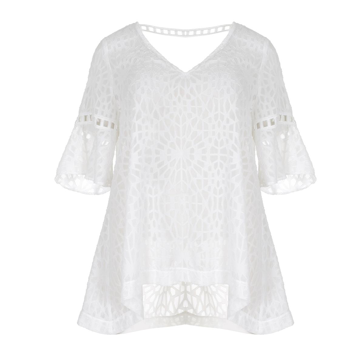 БлузкаБлузка из кружева с цветочным рисунком MAT FASHION. Струящийся покрой из женственного и изящного кружева. Короткие рукава с плиссировкой. V-образный вырез. Одна полоса сзади. 100% полиэстер<br><br>Цвет: белый