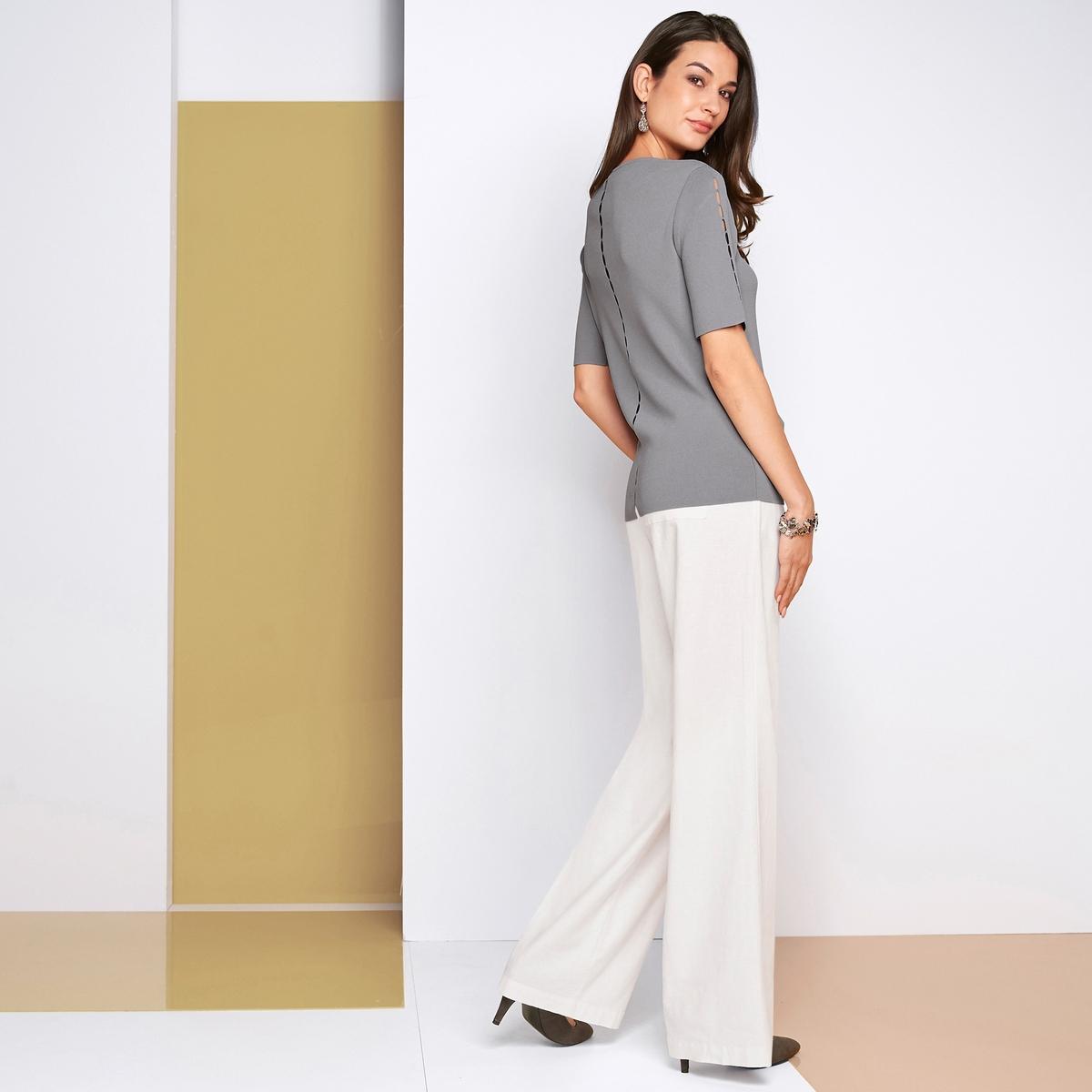 Imagen secundaria de producto de Jersey con cuello de pico y fino punto fantasía - Anne weyburn