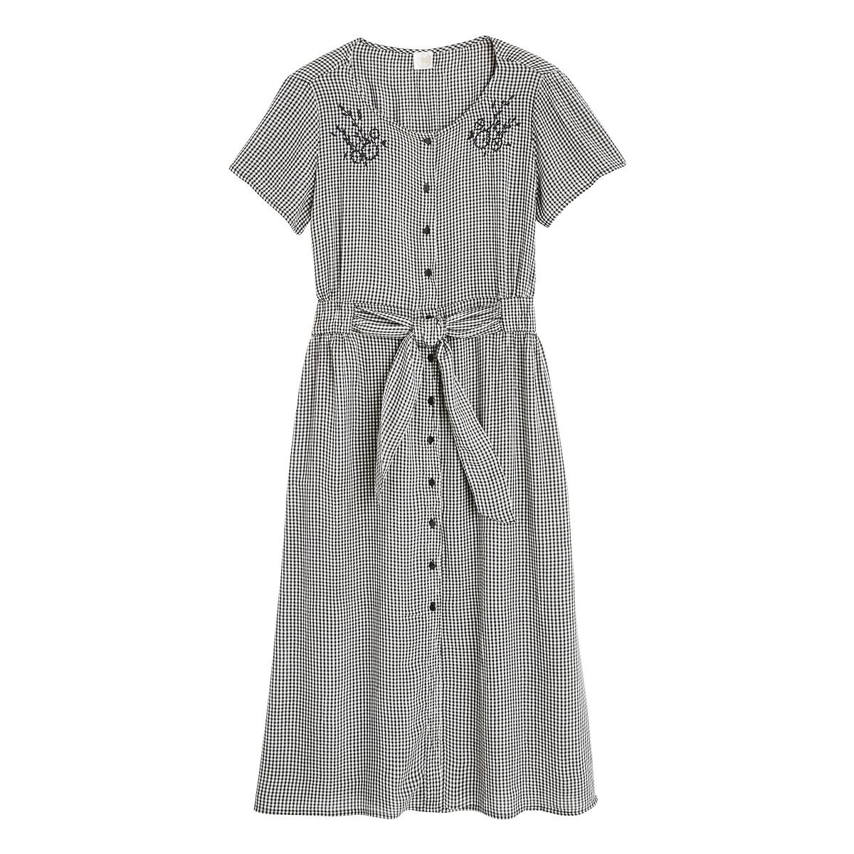 цена Платье La Redoute В мелкую клетку с короткими рукавами ROSMERTA 3(L) черный онлайн в 2017 году