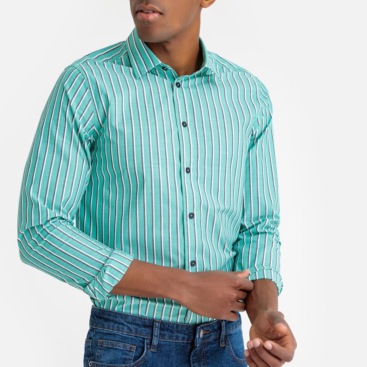 Camisa slim a rayas, de manga larga