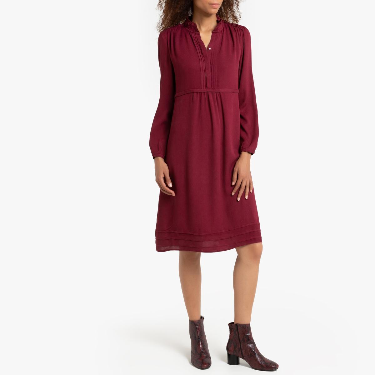 Расклешенное La Redoute Платье с длинными рукавами с круглым вырезом 0(XS) розовый футболка la redoute constance xs розовый