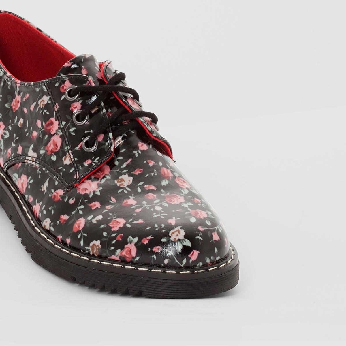 Ботинки-дерби лакированные с цветочным рисунком