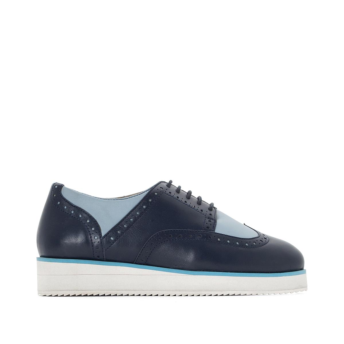 Ботинки-дерби кожаные, двухцветные