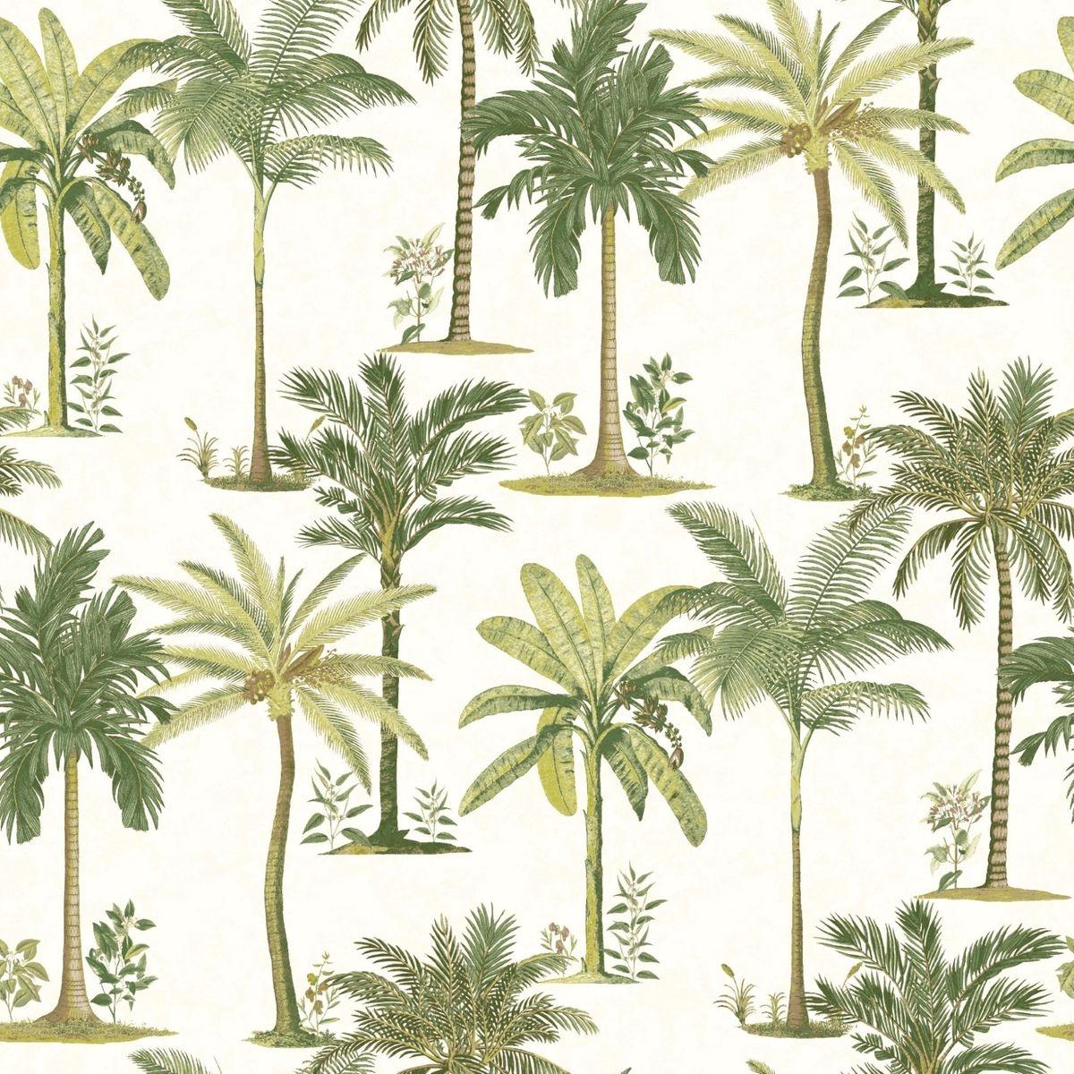 Superfresco Easy Papier Peint Support Intissé Palm Beach Vinyle 1005 x 52 cm Vert & Blanc