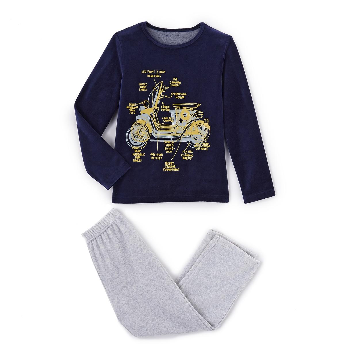 Пижама из велюра с рисунком мопед, 2-12 лет