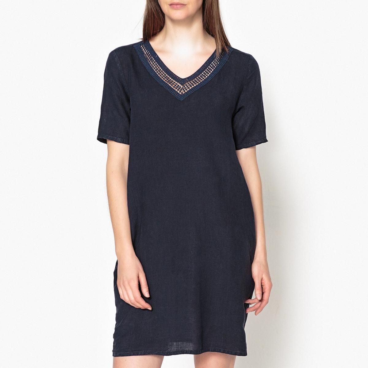 Платье с V-вырезом, ажурное, из льна RAPHIA от HARTFORD