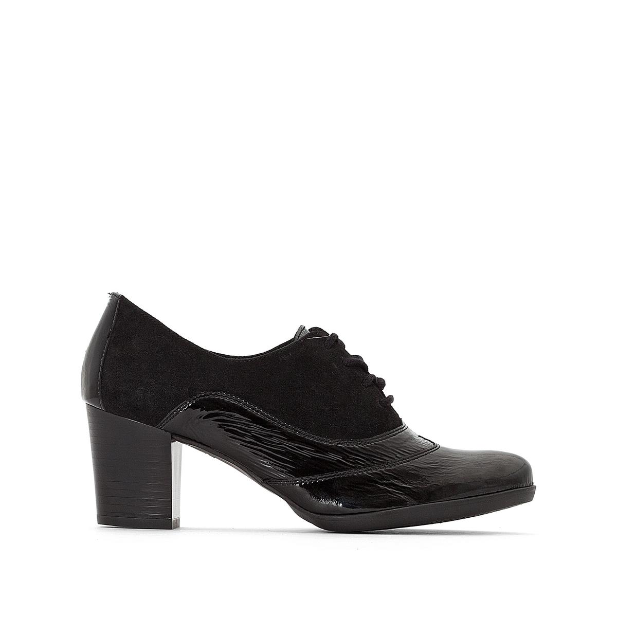 Ботинки-дерби, из кожи, на высоком каблуке