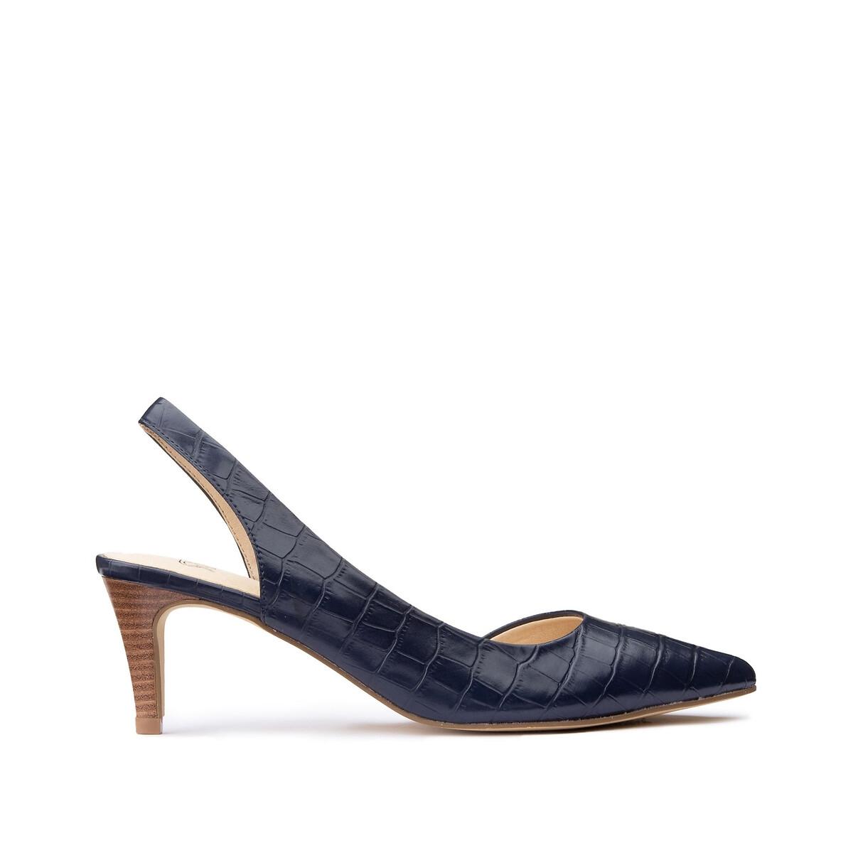 Туфли LaRedoute Под кожу крокодила на каблуке 40 синий