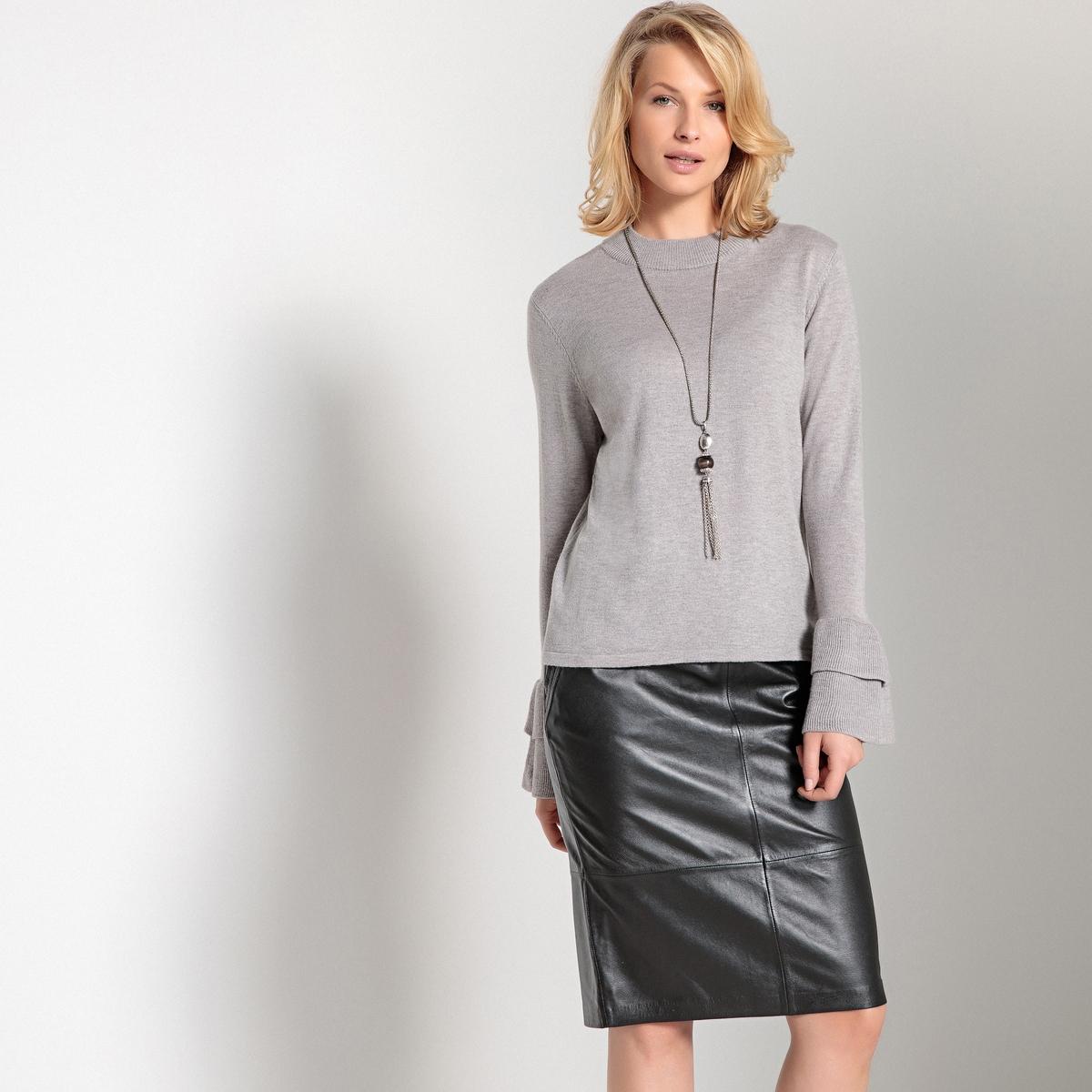 Пуловер с воротником-стойкой и рукавами с воланами из тонкого трикотажа msgm топ с крупными воланами