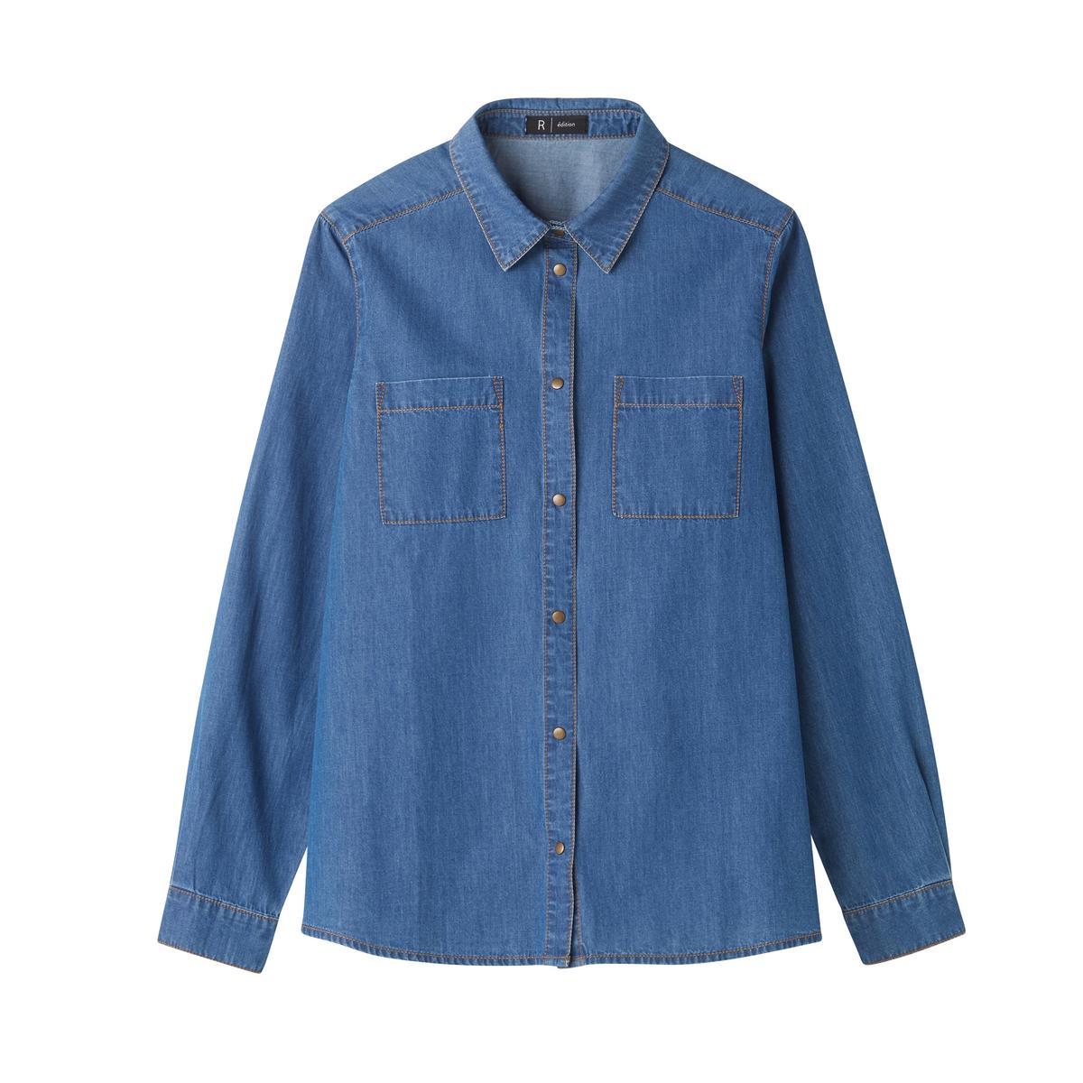 Рубашка с воротником поло и длинными рукавамиДетали •  Длинные рукава •  Прямой покрой •  Воротник-поло, рубашечный •  Кончики воротника на пуговицахСостав и уход •  100% хлопок •  Температура стирки 30°   •  Сухая чистка и отбеливание запрещены •  Не использовать барабанную сушку •  Низкая температура глажки<br><br>Цвет: синий потертый<br>Размер: 52 (FR) - 58 (RUS).50 (FR) - 56 (RUS).46 (FR) - 52 (RUS).40 (FR) - 46 (RUS).38 (FR) - 44 (RUS).36 (FR) - 42 (RUS)