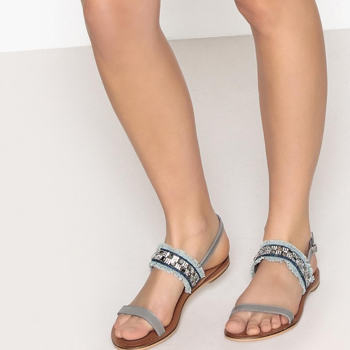Sandalias de piel con detalles de cuentas