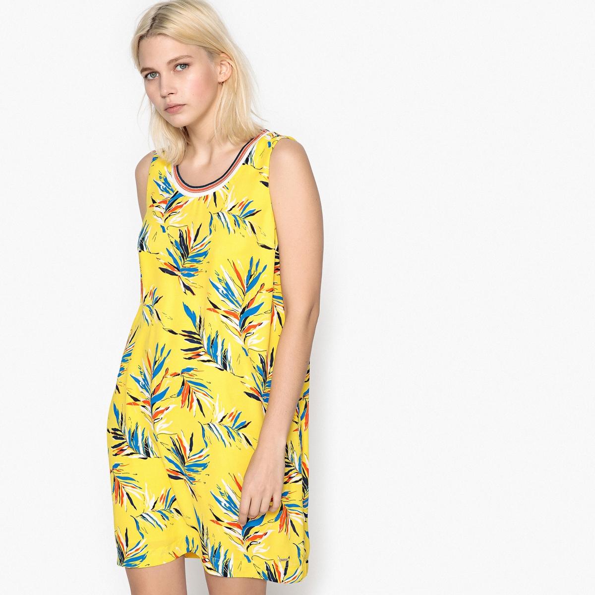 Платье расклешенное короткого покроя с рисункомДетали •  Форма : расклешенная •  Укороченная модель  • Без рукавов    •  Круглый вырез •  Рисунок-принтСостав и уход •  100% полиэстер •  Следуйте советам по уходу, указанным на этикетке<br><br>Цвет: рисунок/фон желтый<br>Размер: XL