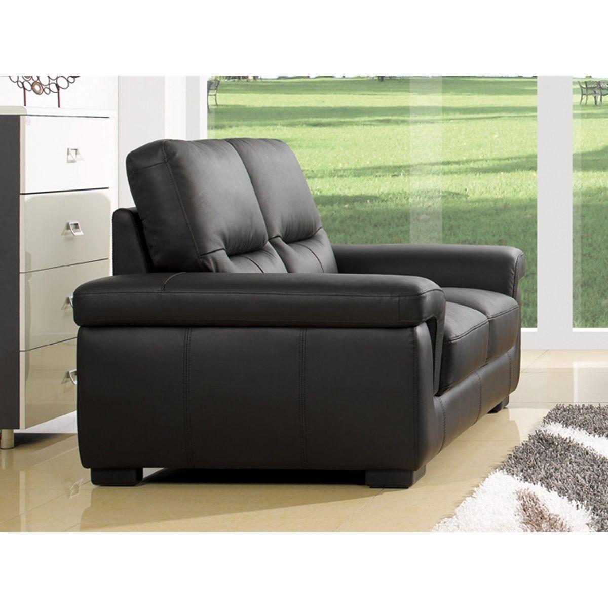 Canapé 2 places en cuir SANDY avec 2 sièges