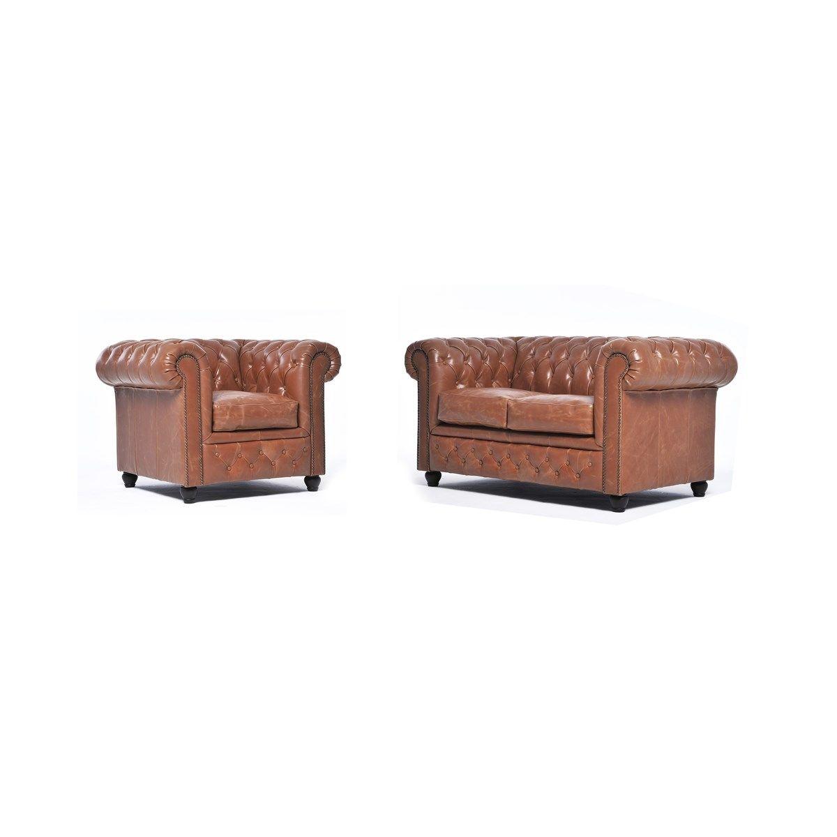 Canapé 2 places et fauteuil en cuir Chesterfield Brighton