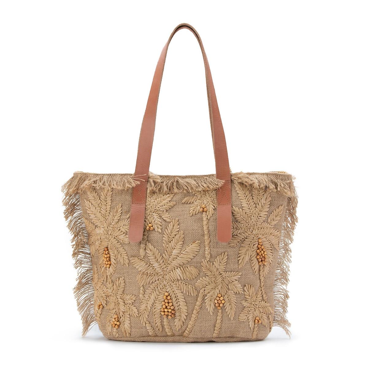цена на Сумка-шоппер La Redoute С вышивкой из рафии и бисера BARRY MEDIUM BAG единый размер бежевый