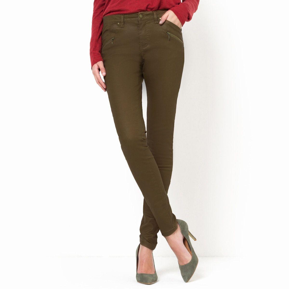 Pantalon skinny 5 poches, coton stretch enduit