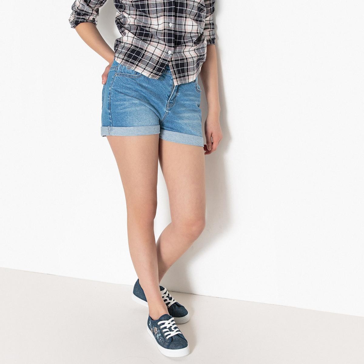 Шорты джинсовые на высоком поясе 10-16 лет