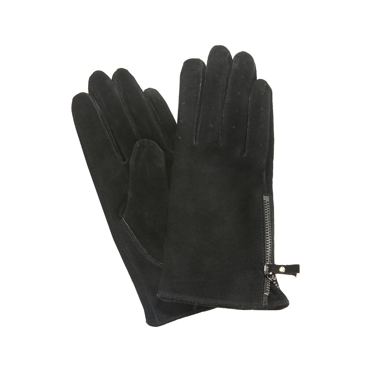 Перчатки LaRedoute Кожаные на молнии S черный