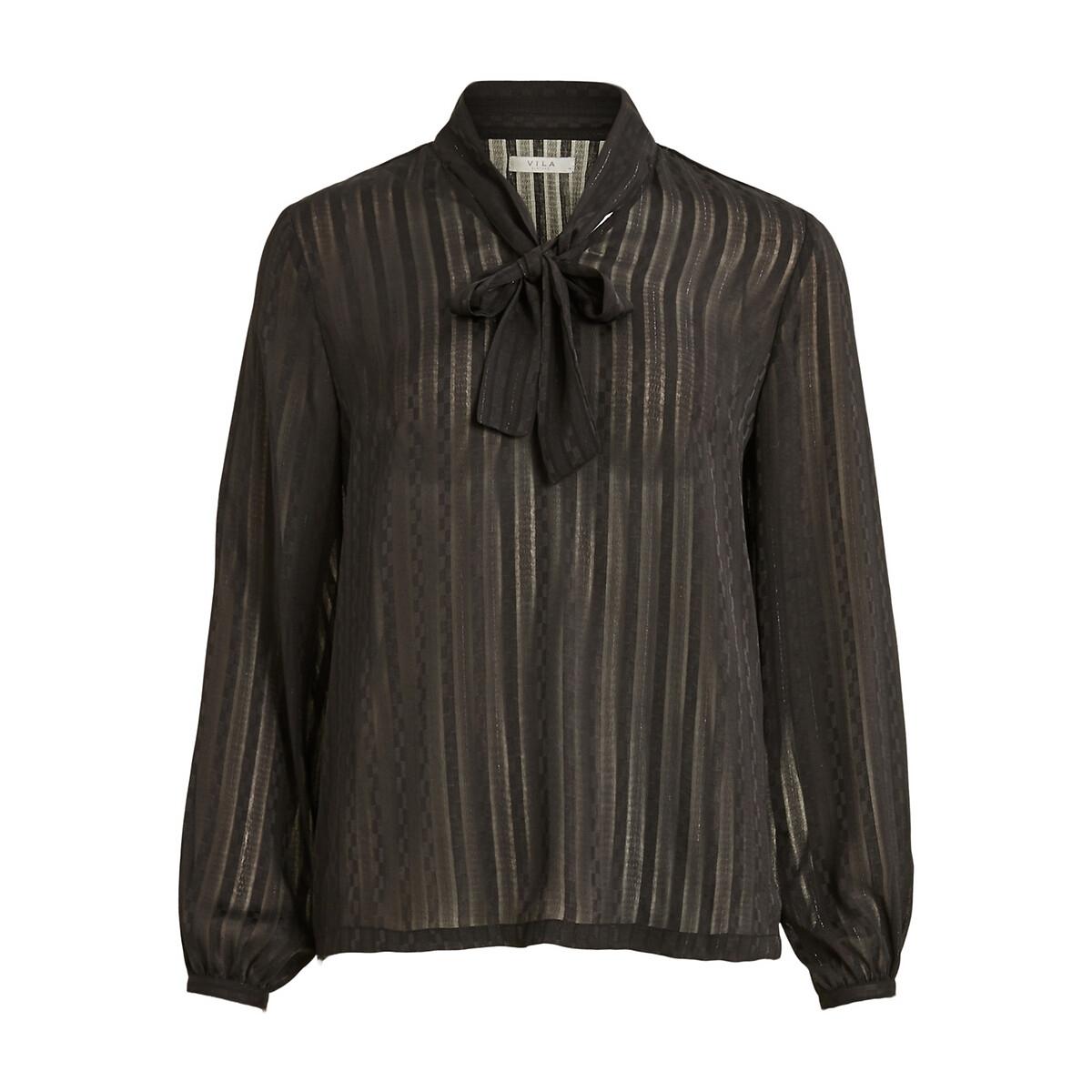 Блузка LaRedoute С воротником с завязками 34 (FR) - 40 (RUS) черный блузка laredoute с рубашечным воротником и вышивкой 38 fr 44 rus синий