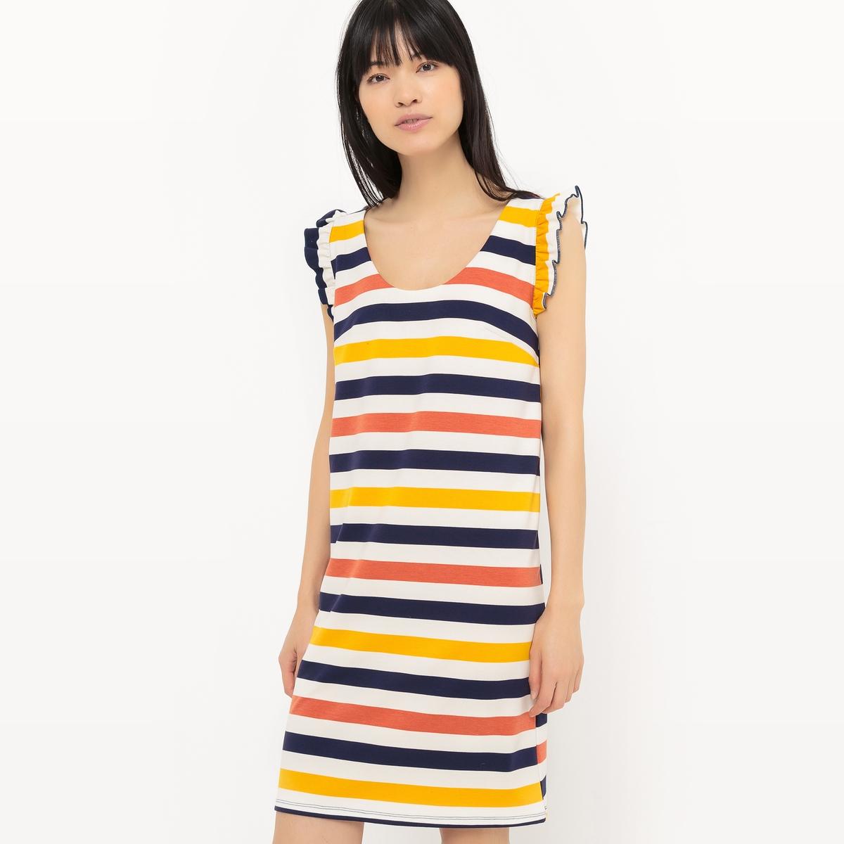 Платье-футляр в полоску из трикотажа, с воланамиМатериал : 75% полиэстера, 20% вискозы, 5% эластана.             Длина рукава : без рукавов             Форма воротника : круглый вырез            Покрой платья : платье прямого покроя               Рисунок : в полоску             Особенность платья : глубокий вырез сзади            Длина платья : 92 см            Стирка : машинная стирка при 30 °С            Уход : Сухая чистка и отбеливание запрещены            Машинная сушка : Машинная сушка запрещена            Глажка : при низкой температуре<br><br>Цвет: в полоску разноцветный<br>Размер: 40 (FR) - 46 (RUS).38 (FR) - 44 (RUS).50 (FR) - 56 (RUS)