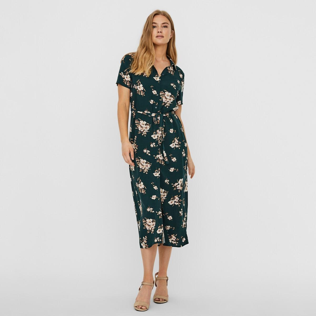 Платье-рубашка La Redoute Длинное с цветочным принтом и завязками S зеленый платье la redoute длинное amandine s разноцветный