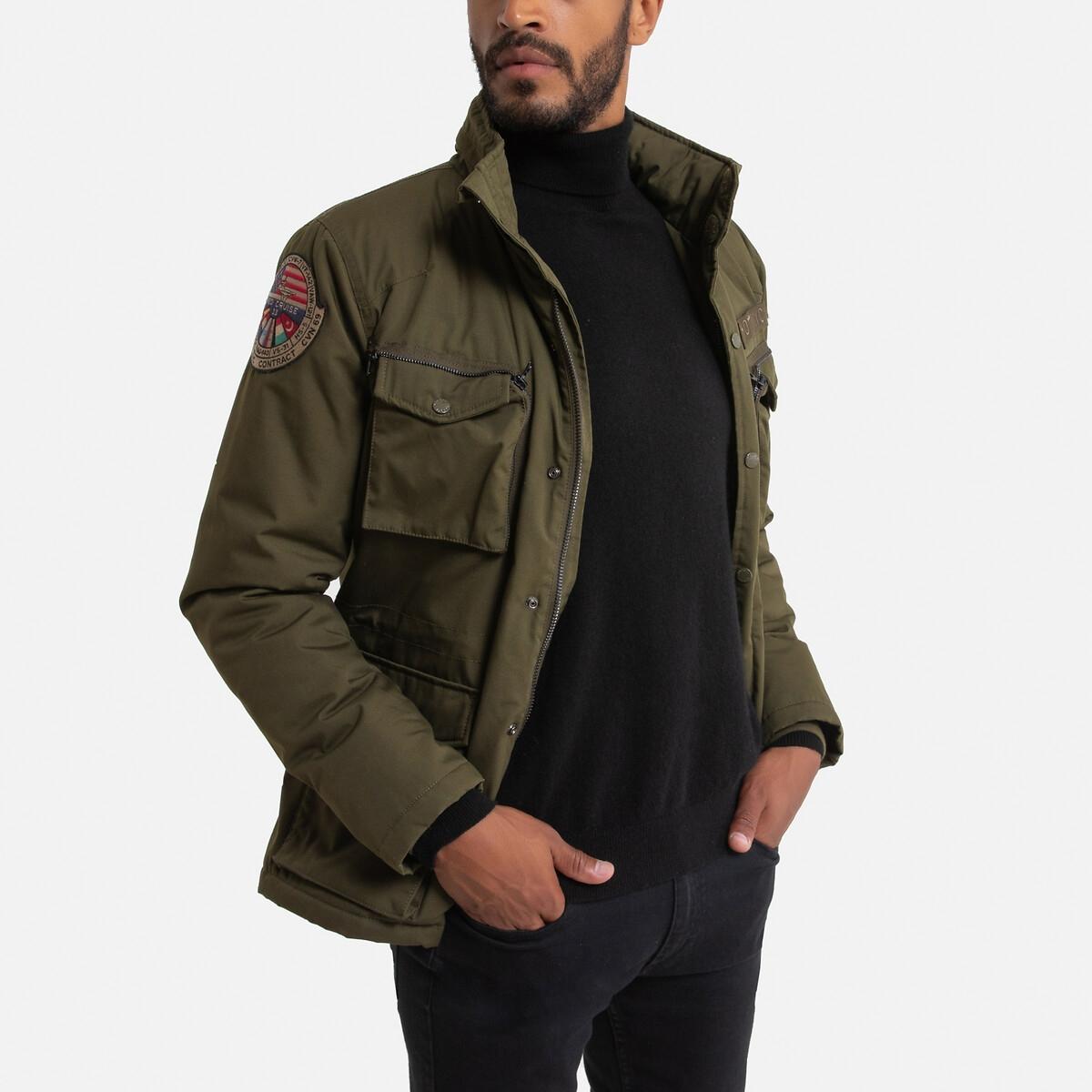 Куртка LaRedoute В стиле милитари на подкладке из шерпы Fight 3XL зеленый
