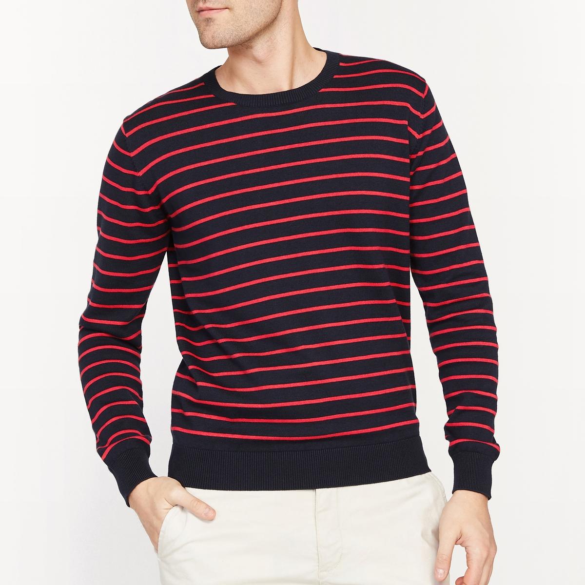 Пуловер в полоску с круглым вырезом 100% хлопок