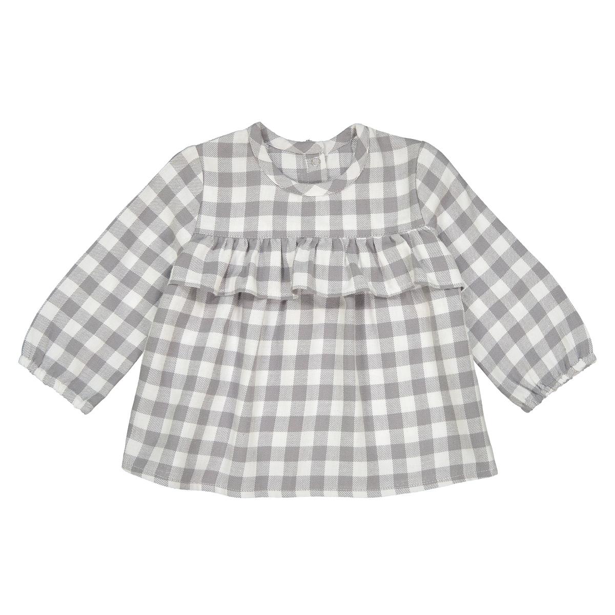 Блузка с длинными рукавами с воланами 1 мес - 3 года блузка в клетку с воланами и длинными рукавами check