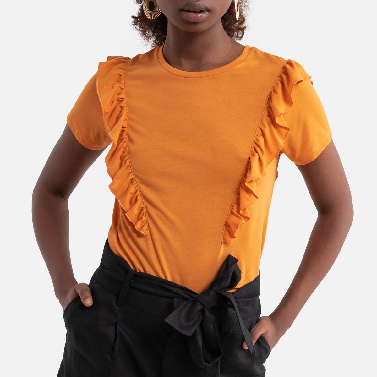 Футболка LaRedoute С короткими рукавами и воланами M оранжевый футболка laredoute из биохлопка с короткими рукавами vegiflower m зеленый