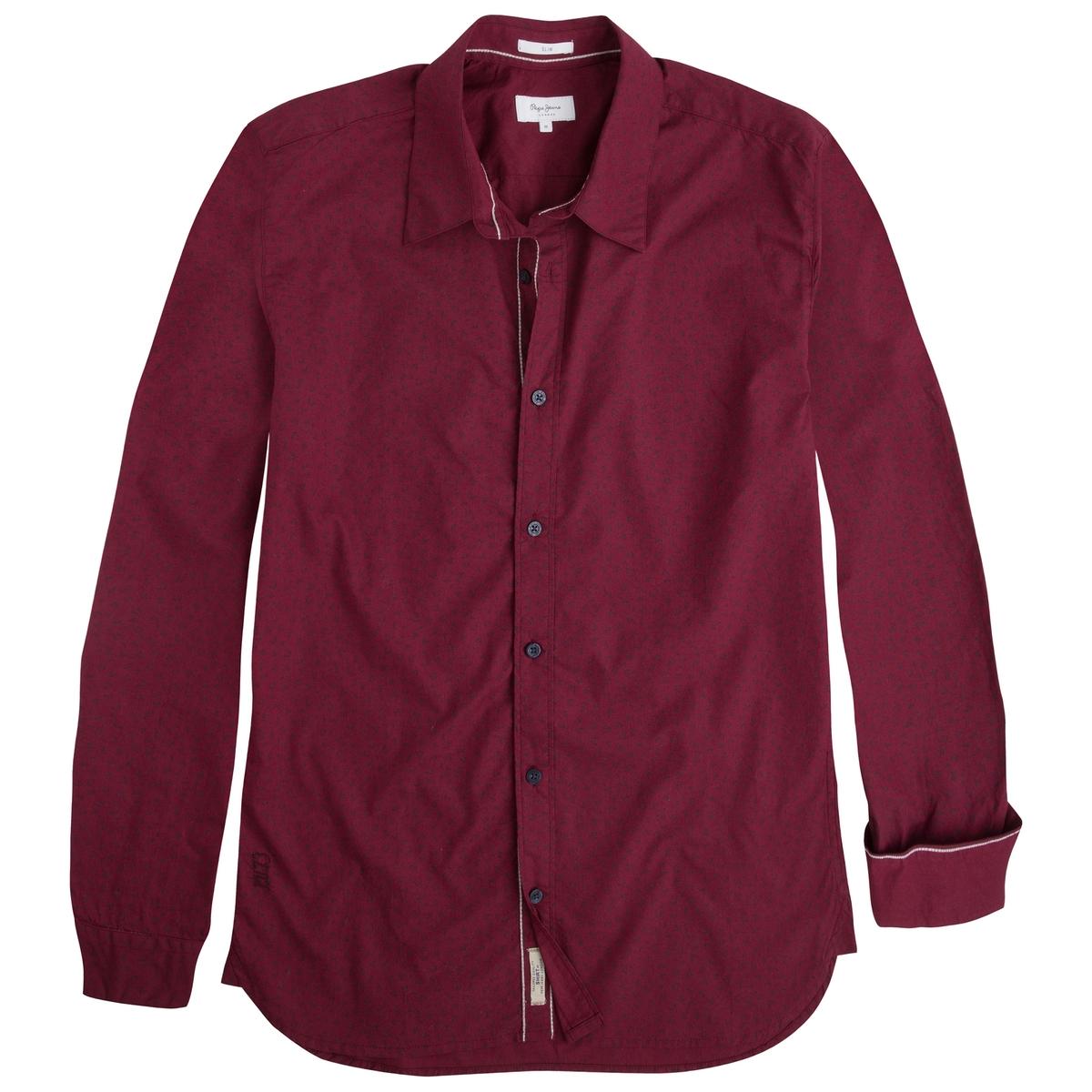 Рубашка с рисункомРубашка с длинными рукавами -  PEPE JEANS с мелким рисунком. Прямой покрой и классический воротник со свободными кончиками. Края рукавов и застежка на пуговицах . Слегка закругленный низ. Логотип на кармане.Состав и описаниеМатериал : 100% хлопкаМарка : PEPE JEANS<br><br>Цвет: бордовый<br>Размер: S