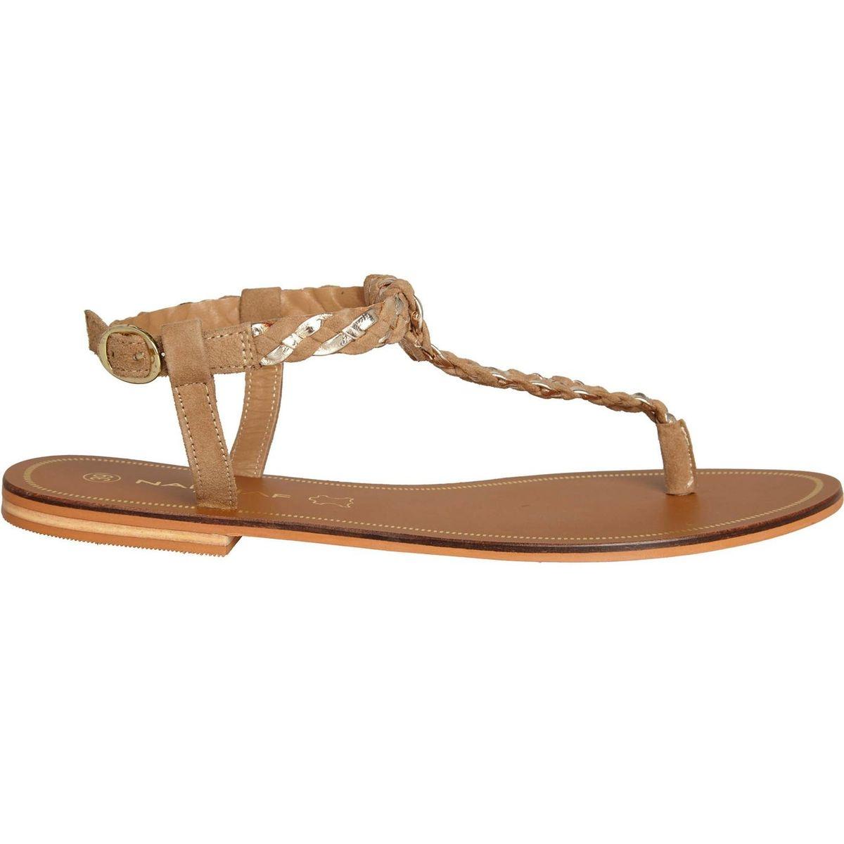 Sandales plates cuir tressé