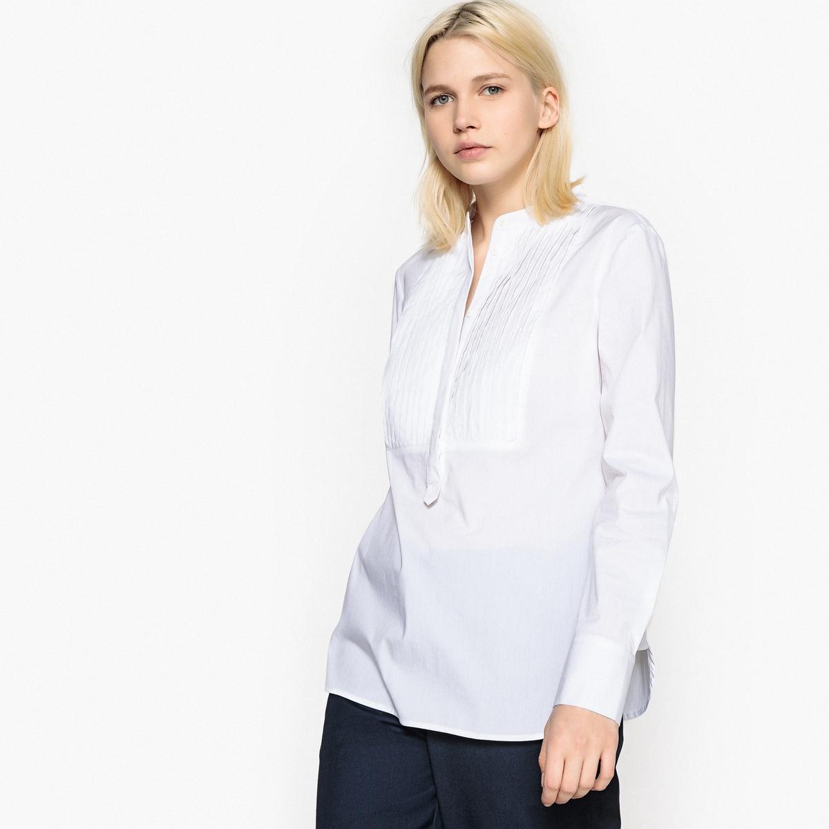 Блузка с классическим вырезом с плиссированной вставкой спереди