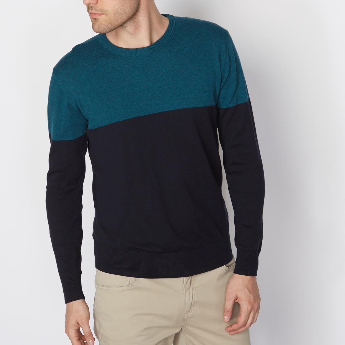 Пуловер двухцветный с круглым вырезомСостав и описание Материал : 80% хлопка, 20% полиамида.Длина : 67 см Марка :      R ?dition<br><br>Цвет: сине-зеленый/темно-синий