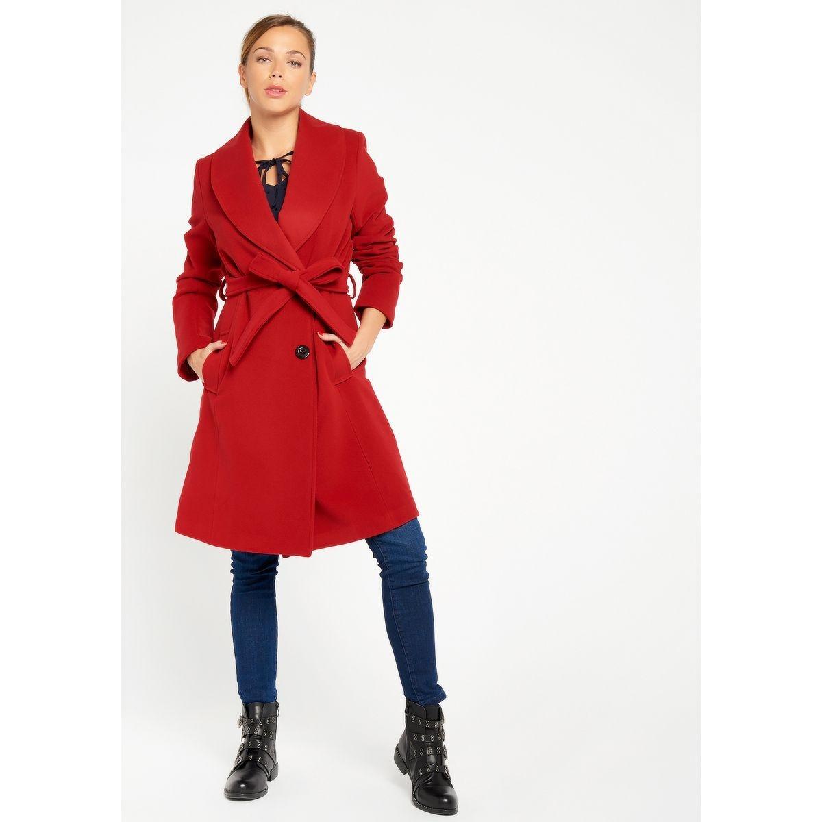 Manteau mi-long ceinture