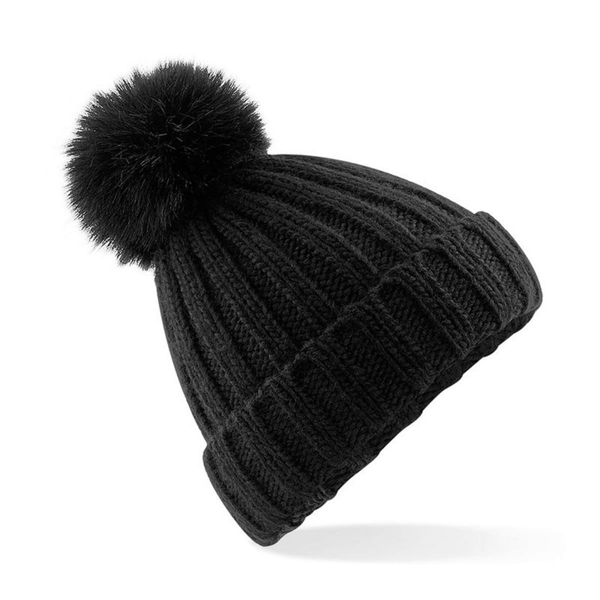 Verbier bonnet à pompon imitation fourrure mixte