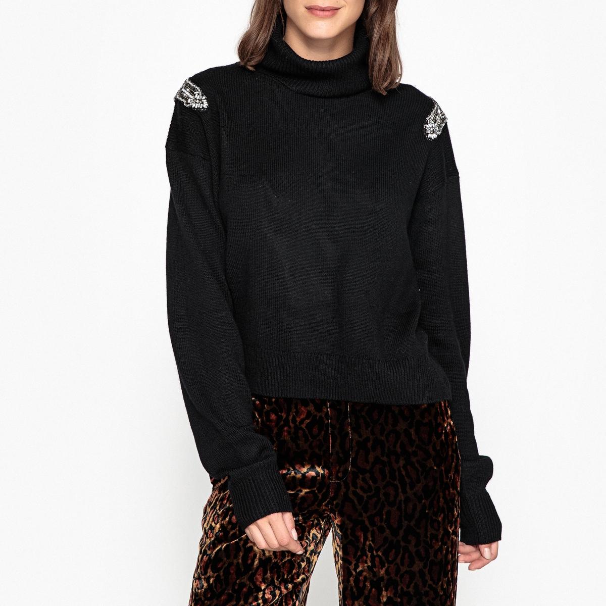 Пуловер со стоячим воротником из тонкого шерстяного трикотажа и кашемира блузка однотонная со стоячим воротником и нагрудными карманами