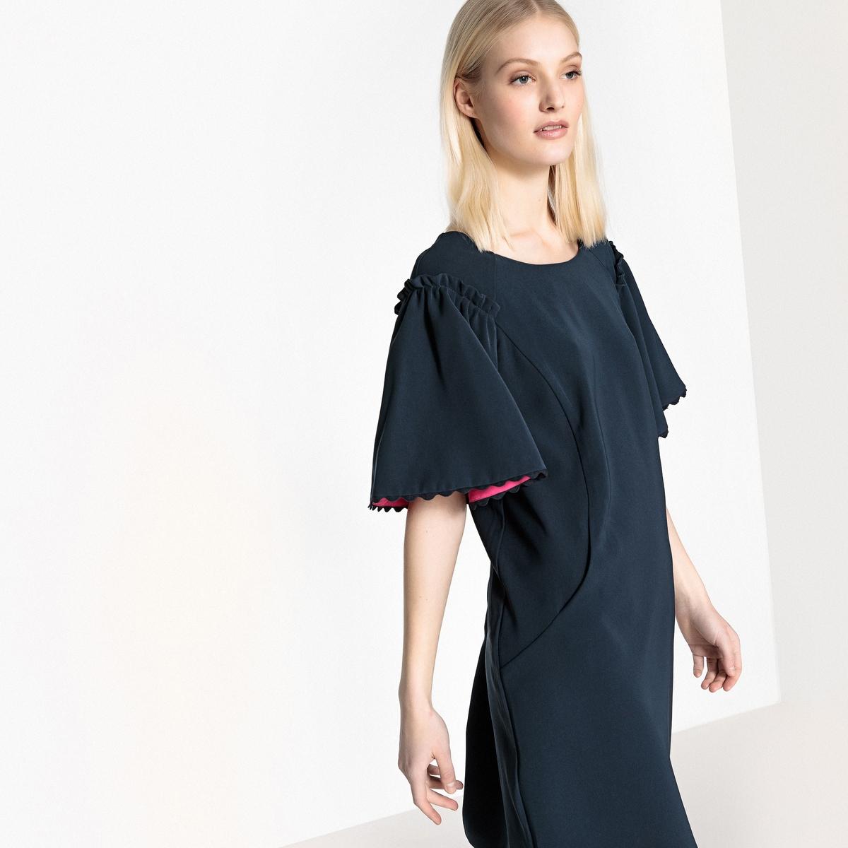Платье LaRedoute Короткое прямое однотонное с короткими рукавами 36 (FR) - 42 (RUS) синий платье la redoute короткое расклешенное в горошек с ажурными бретелями 42 fr 48 rus синий