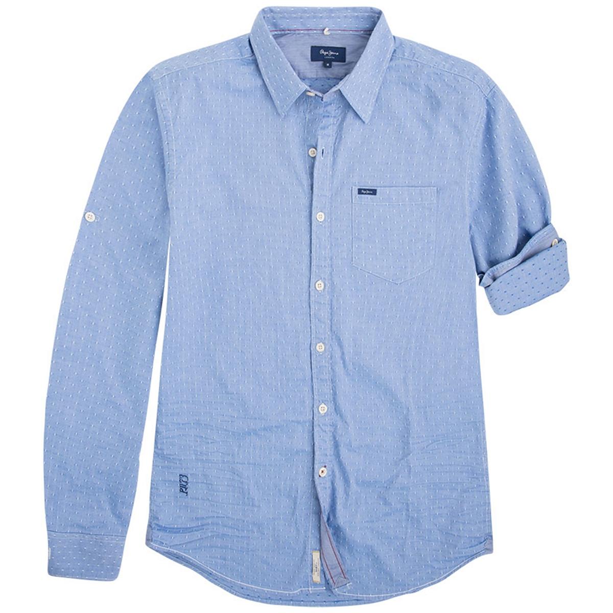 Рубашка с длинными рукавамиОписание:Детали  •  Длинные рукава  •  Приталенный покрой   •  Классический воротник •  Жаккардовый рисунокСостав и уход  •  100% хлопок  •  Следуйте советам по уходу, указанным на этикетке<br><br>Цвет: небесно-голубой