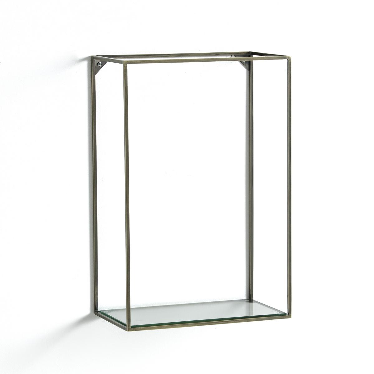Полка вертикальная из металла и стекла, OshotaОписание : - Каркас из металла с отделкой из латуни с эффектом старения- 1 стеклянная полка- Крепится к стене, шурупы и дюбели в комплект не входятРазмеры : - Ш.30 x В.45 x Г.17 см<br><br>Цвет: золотистый