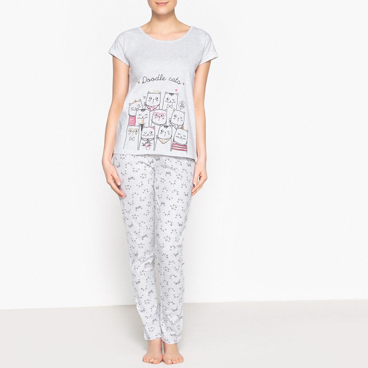 Пижама из хлопка с рисунком кошка пижама с шортами с рисунком
