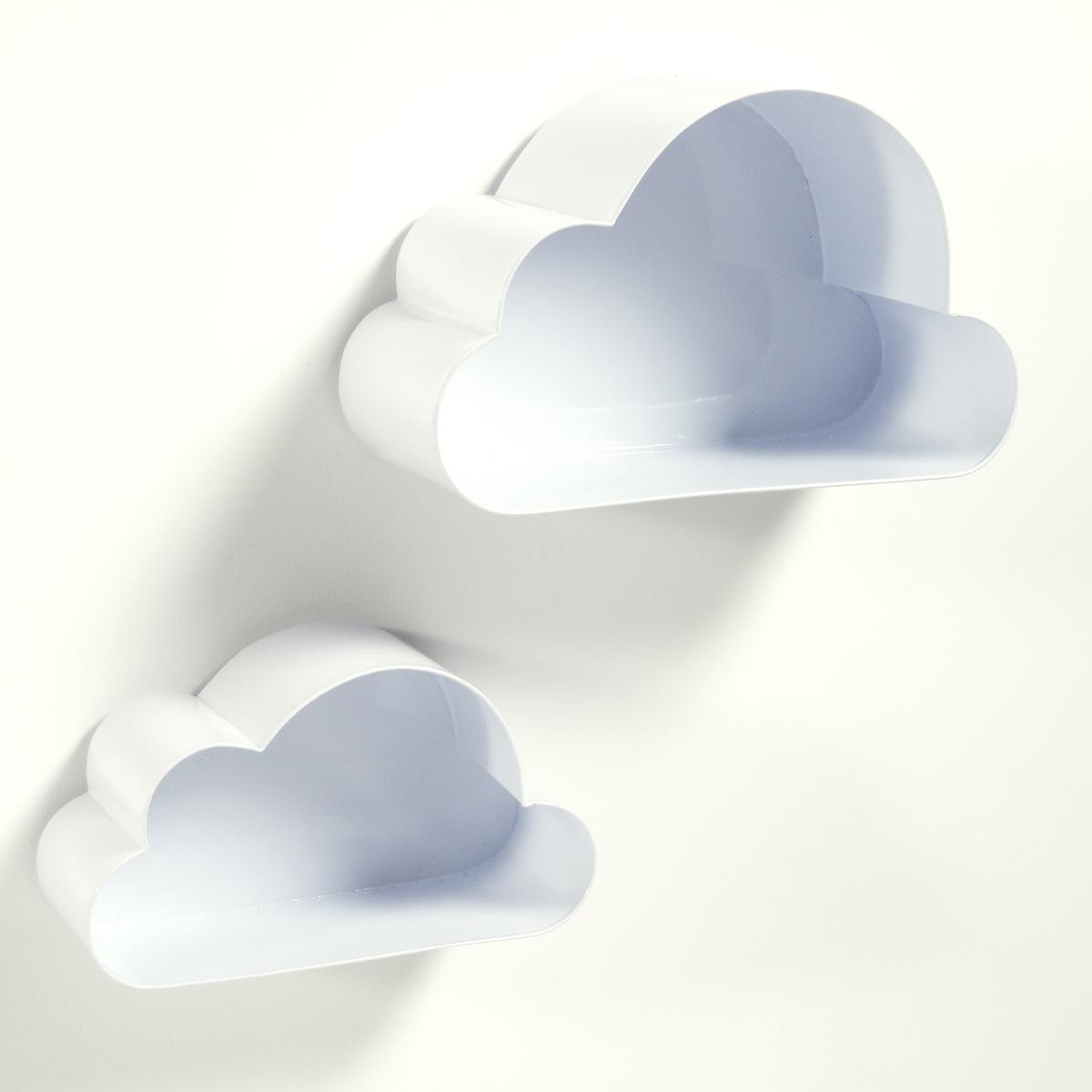 2 полки настенные в форме облака, SpacielleХарактеристики 2 полок настенных в форме облака  Spacielle  :Металлический корпус с эпоксидным покрытием.Планки для крепления на стену .- Шурупы и дюбеля продаются отдельно.Размеры 2 полок настенных Spacielle  :Модель 1 : 31 x 17,5 x 12 см Модель 2 : 38 x 23,5 x 17 см<br><br>Цвет: белый