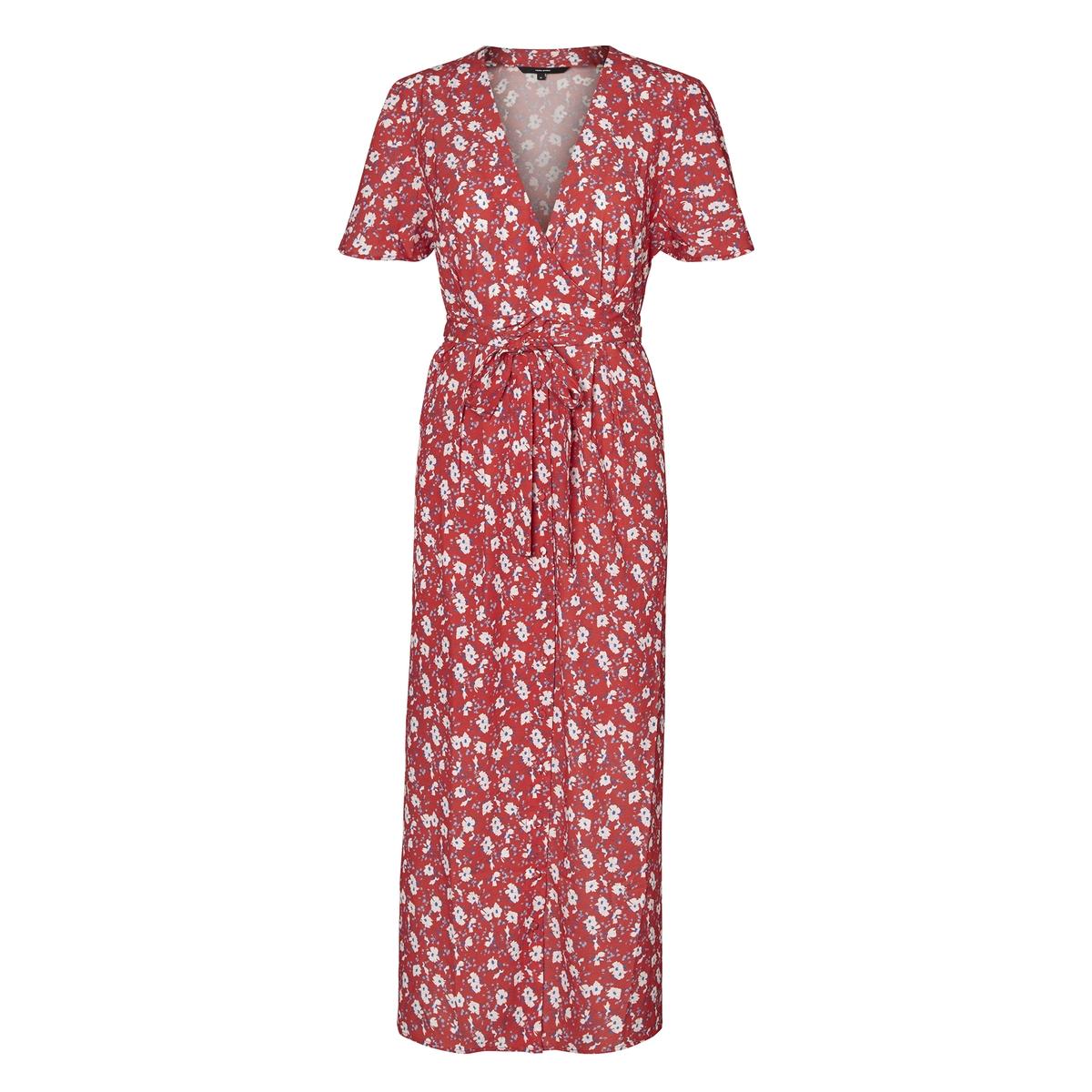 Платье длинное с рисунком, V-образным вырезом и короткими рукавами