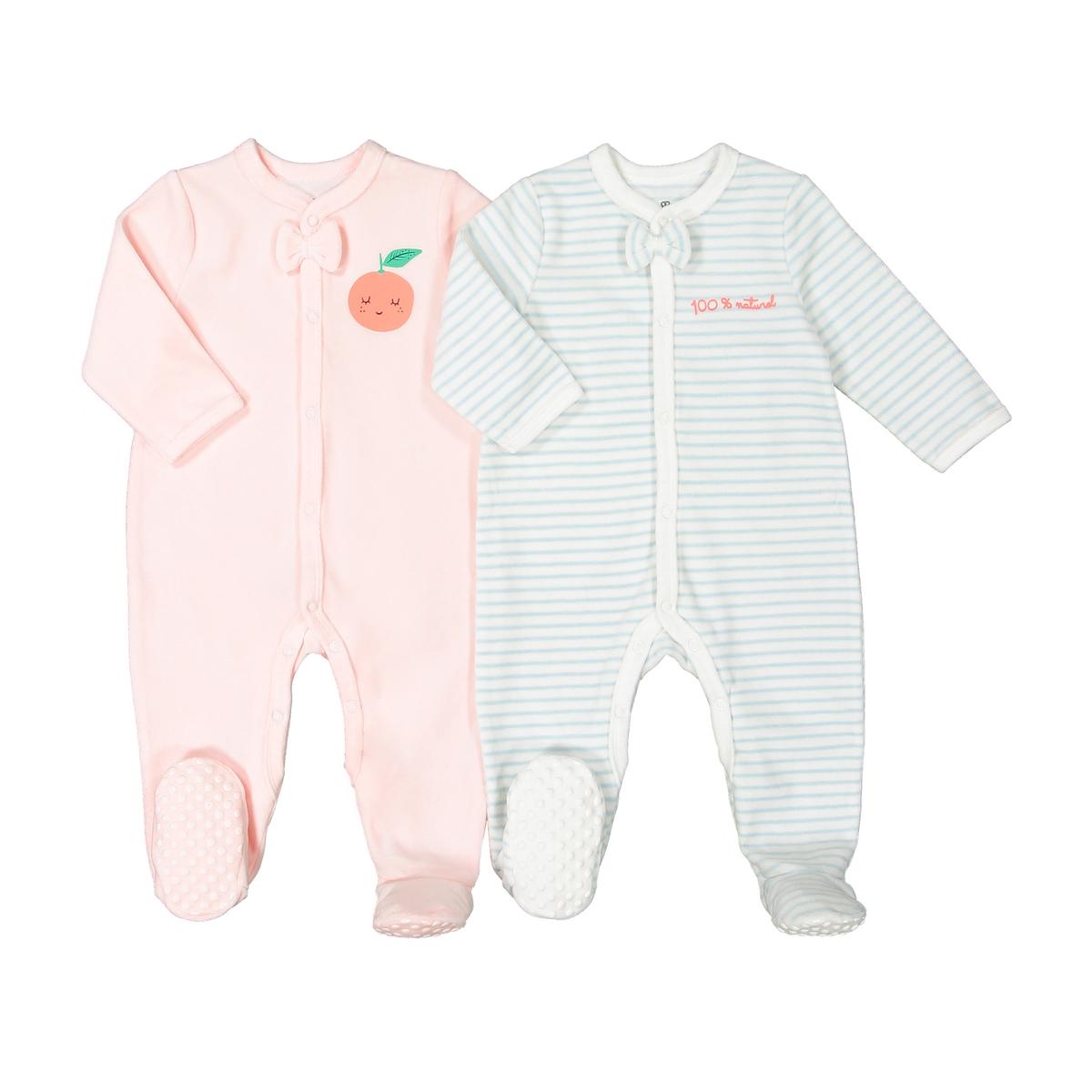 цена Комплект из пижам для La Redoute Новорожденных из велюра мес - года 2 года - 86 см розовый онлайн в 2017 году