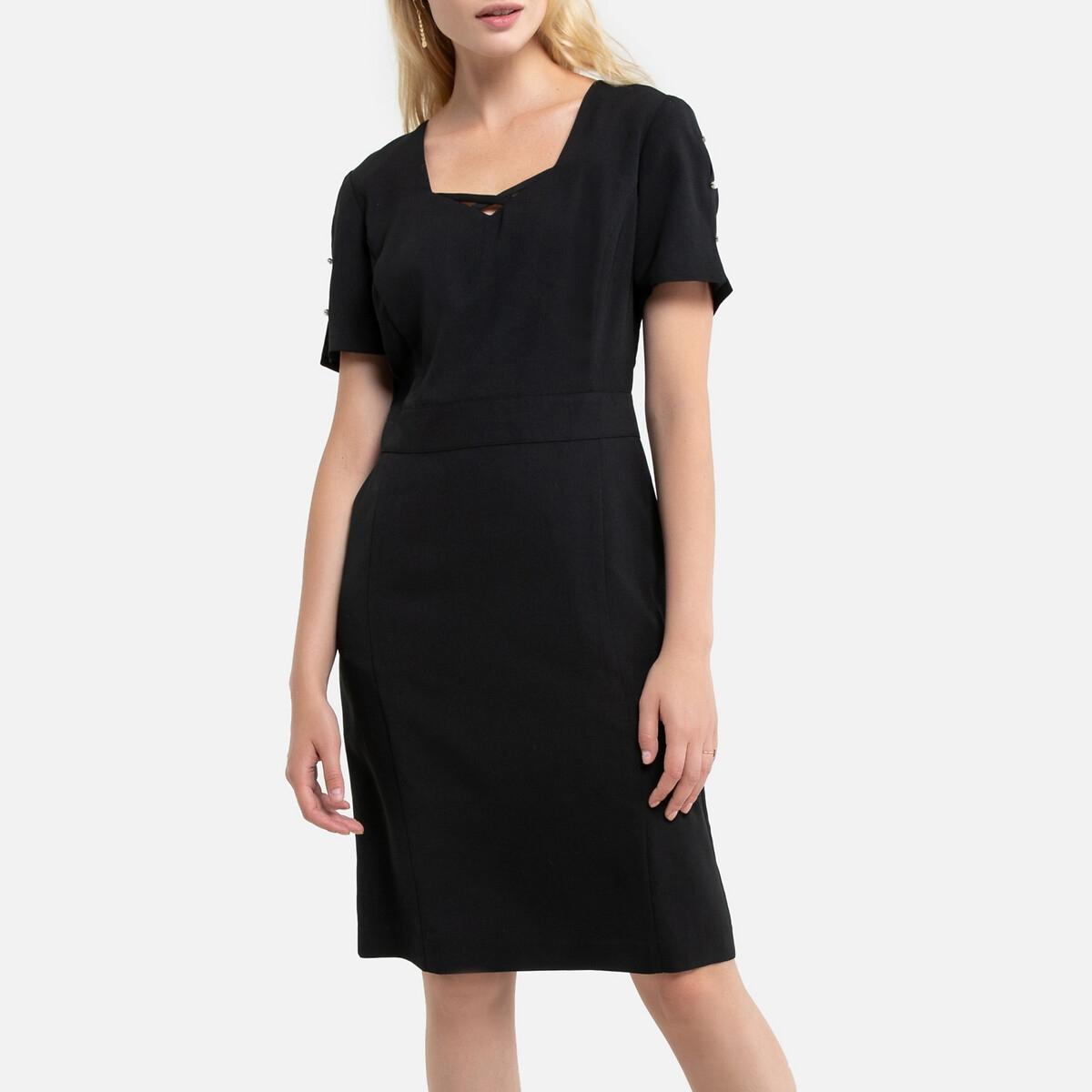 Платье La Redoute Прямое средней длины короткие рукава 50 (FR) - 56 (RUS) черный платье прямое средней длины однотонное без рукавов