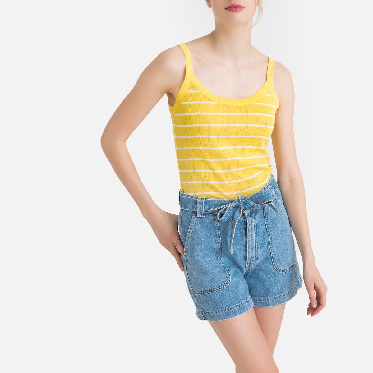 цена Топ La Redoute В полоску на тонких бретелях M желтый онлайн в 2017 году