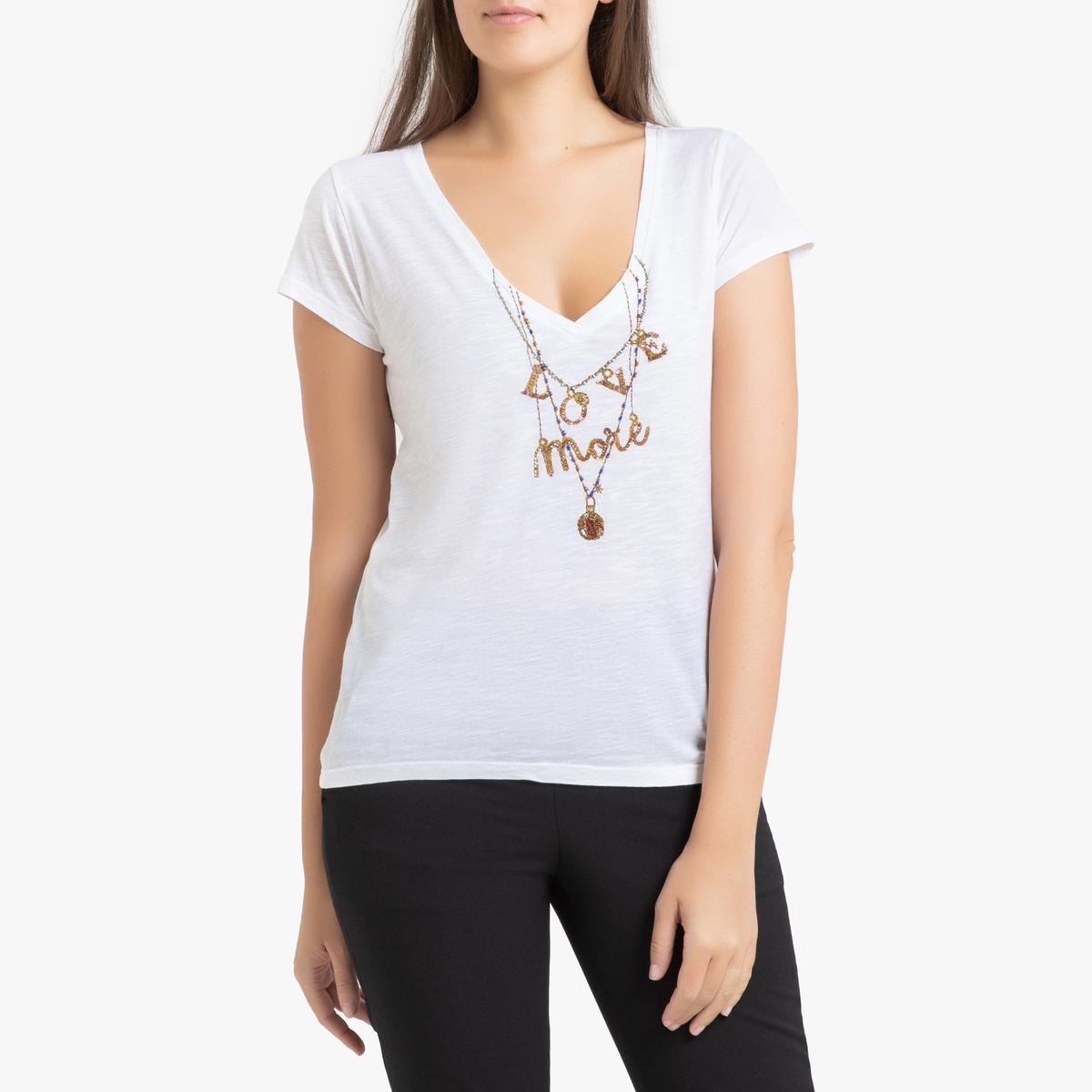 Футболка La Redoute С V-образным вырезом и бусинами TONTON LOVE S белый футболка la redoute с v образным вырезом короткими рукавами и принтом спереди l белый